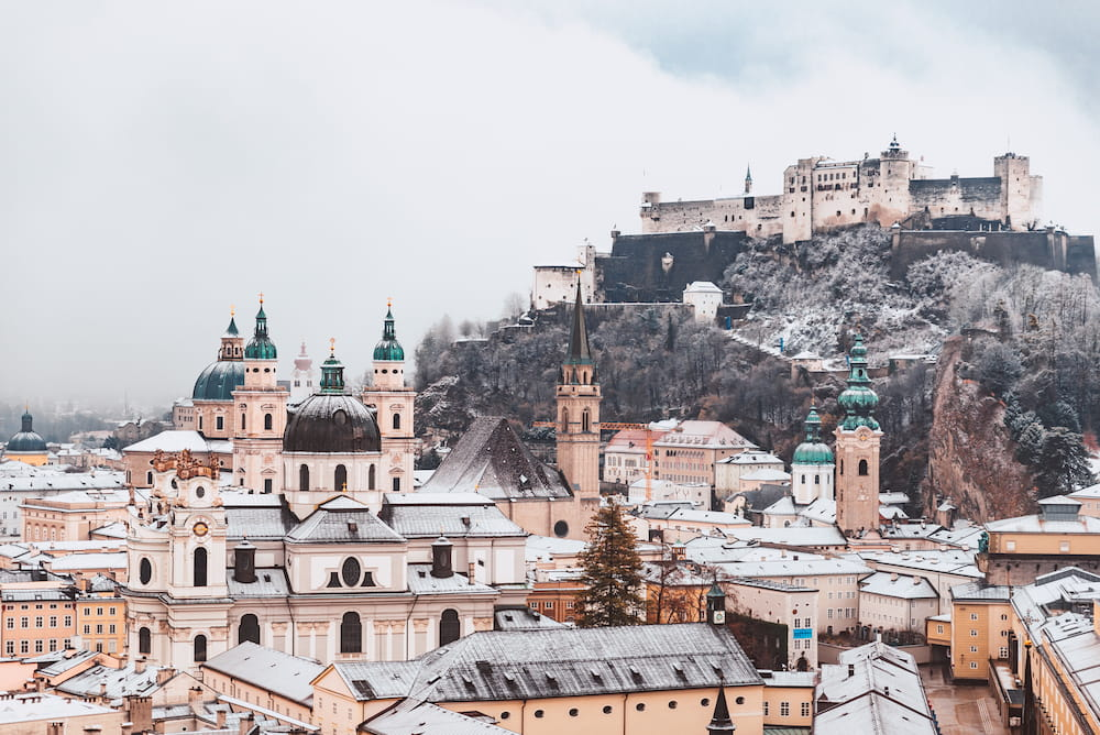 Salzburg rooftops covered in snow